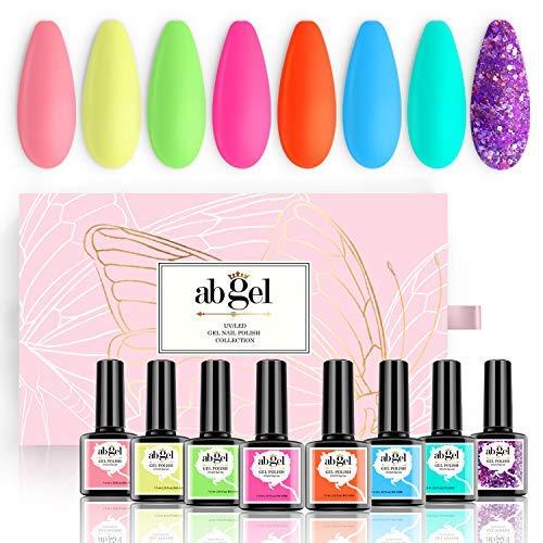 Smalto gel per unghie AB GEL - Serie Neon 8 colori, Smalto gel arcobaleno pastello - Set di smalti gel per unghie popolari di design per unghie