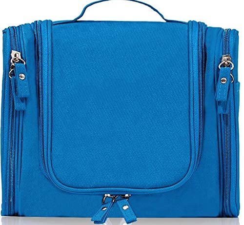 Hanging Travel Toiletry Bag, Cosmetic Kit Bags, Waterproof Shower Organizer, Large Makeup Storage Bag, Family Grooming Kit, Travel Bath Pouch Bag with Hanging Hook for Men/Women Gift Item (Blue)