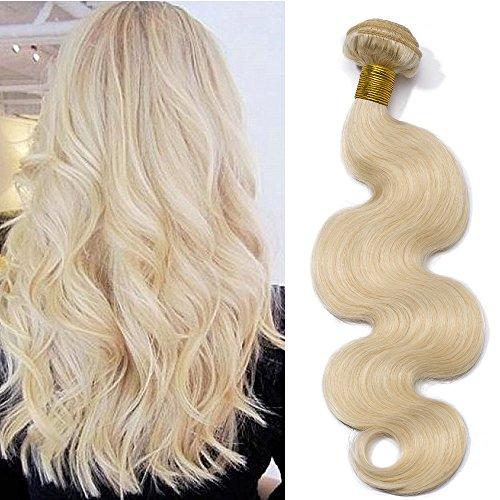Extension Capelli Veri Tessitura Biondi Extension Matassa Mossi Ondulati Una Fascia #60 Biondo Platino 100g/pack Remy Human Hair Virgin