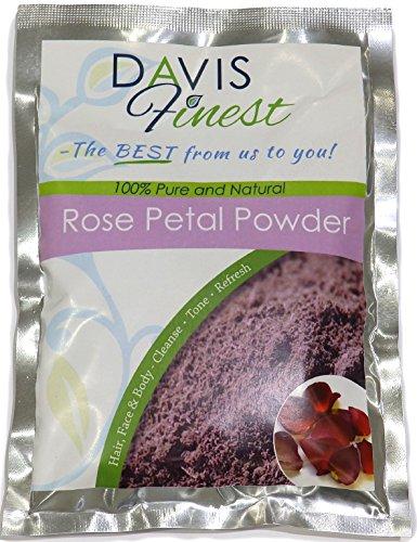 Davis Finest Rose Petal Powder per capelli e pelle, maschera schiarente per il viso naturale puro 100g