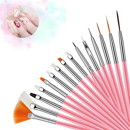 Hanyousheng Set di pennelli per unghie 15 Pcs Professionali Pennelli Nail Art Set Pennelli Unghie Gel Utilizzato per la Decorazione Delle Unghie e per i Dettagli di Pittura Pennello in UV Gel Acrilico