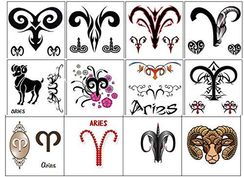 segno zodiacale stella zodiac star sign Collezione di tatuaggi temporanei Temporary Tattoos collection (Tatuaggio di Ariete Aries tattoo)