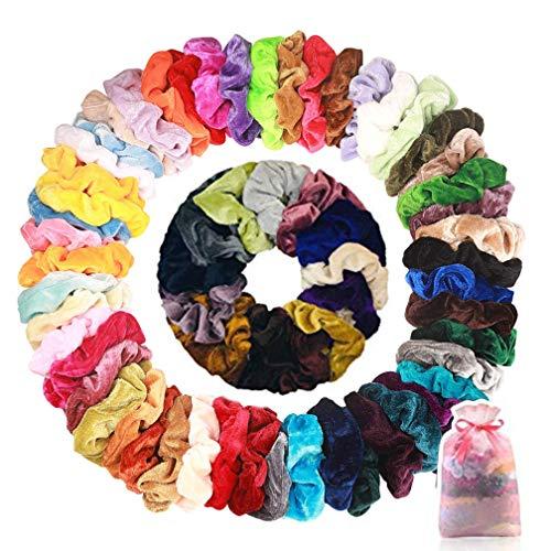Wanxida 50 Pezzi Scrunchies, Elastici per Capelli in Velluto Accessori per Capelli per Donne o Ragazze, 50 colori assortiti