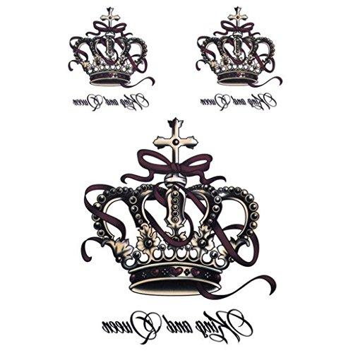 Manyo, tatuaggi temporanei rimovibili, impermeabili, per body art, con corona e re