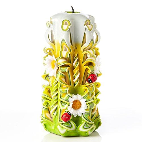 Candela scolpita a mano senza profumo - perfetta come decorazione di casa o regalo perfetto per molte occasioni - stupendi colori crema e verde con decorazioni