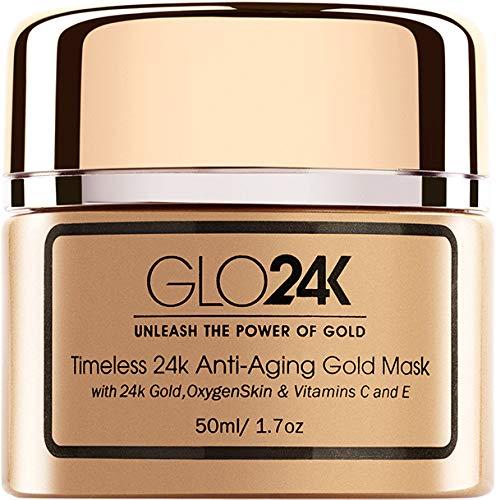 GLO24K Maschera d'oro antinvecchiamento senza tempo 24k con oro 24k, pelle di ossigeno e vitamine C ed E