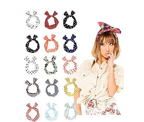 Fascia per capelli con nodo a orecchie di coniglio, con fil di ferro, multiuso, splendida fascia per tanti stili diversi, per donne e ragazze, in colori assortiti, confezione da 10 pezzi