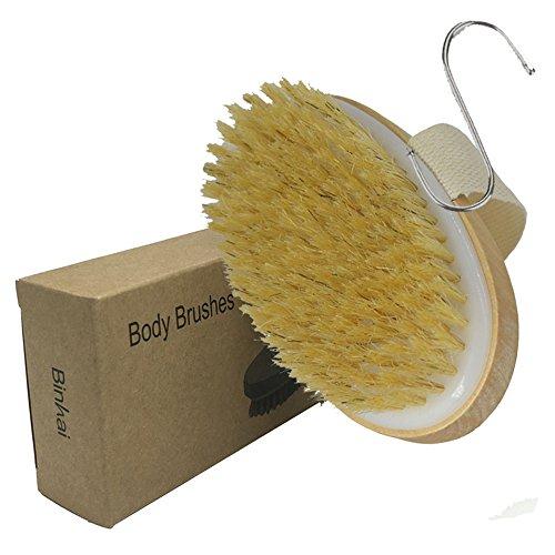 BINHAI Spazzole da bagno Esfoliante Pelle secca in legno corpo spazzola con setole naturali(Resistenza Media)