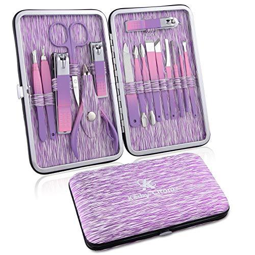 Tagliaunghie Set Professionale - Grooming Kit Strumenti per Manicure e Pedicure 16pcs con Box (viola)