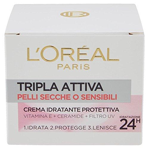 L'Oréal Paris Tripla Attiva Crema Viso Idratante Protettiva Giorno per Pelli Secche o Sensibili, 50 ml
