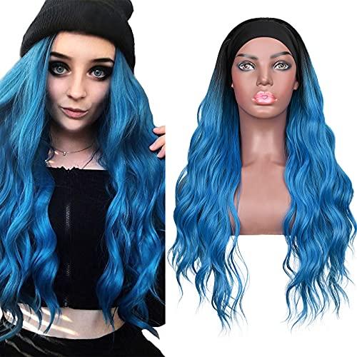 Parrucche con fascia da 24 pollici, parrucca ombre blu con onde ricci lunghi con fascia, parrucca sintetica per capelli completa per le donne, parrucca cosplay resistente al calore per tutti i giorni