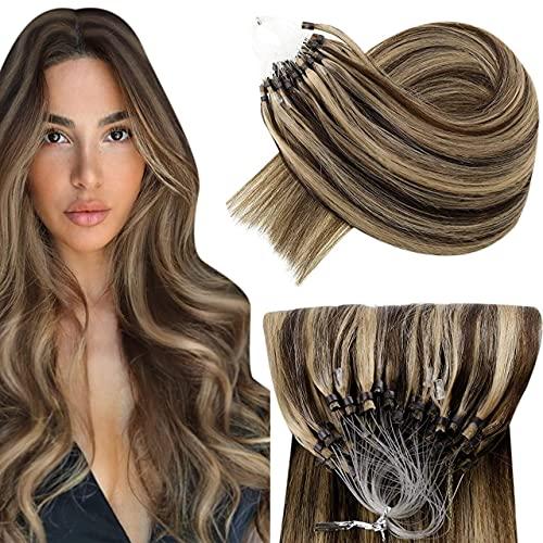 Hetto Capelli Veri Micro Ring Human Hair Biondo Miele Misto Marrone Scuro Capelli Lisci Naturali Umani 14 Pollici 50G Capelli Veri Extensions con Anelli