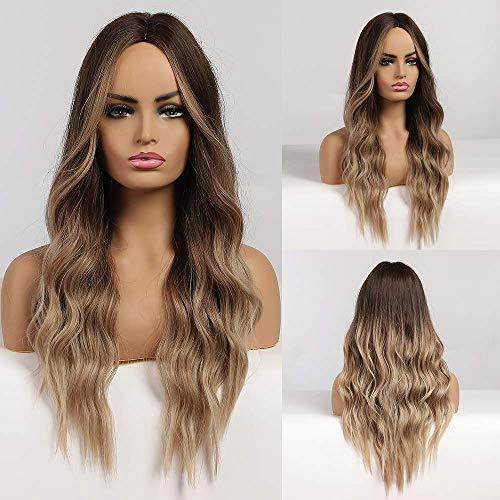 HAIRCUBE parrucca marrone omber Parrucca da donna riccia lunga con taglio centrale Parrucche da 24 pollici per donna Parrucche sintetiche dall'aspetto naturale