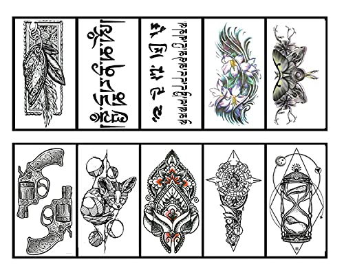 Autoadesivi Del Tatuaggio Impermeabile Tatuaggi Falso Mezza Braccio Tatuaggi Temporanei Falso Braccio Animali Autoadesivo Del Tatuaggio Bussola Fiore Adulti Tribal Tiger Tatuaggi, 10 Fogli