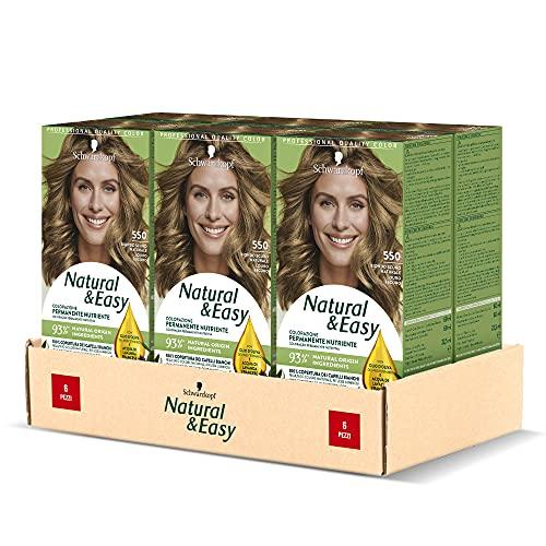 Schwarzkopf Natural & Easy Tinta per Capelli Permanente, Colore Capelli Risultato Naturale, per Capelli Bianchi, Tonalità 550 Biondo Scuro Naturale, Confezione 6 pezzi