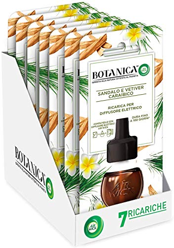 Airwick Botanica Ricariche per Diffusore di Oli Essenziali Elettrico, fragranza Sandalo e Vetiver Caraibico, fragranza naturale - Confezione da 7 Ricariche