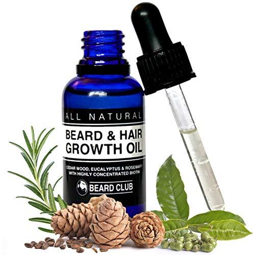 Olio per favorire la crescita di barba e capelli | 30ml | con Biotina altamente concentrata | Al profumo di legno di cedro, eucalipto e rosmarino | La soluzione definitiva alla tua barba a chiazze