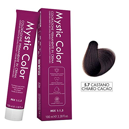 Mystic Color - Colore Castano Chiaro Cacao 5.7 - Tinta per Capelli - Colorazione Professionale in Crema a Lunga Durata - Con Cheratina Idrolizzata, Olio di Argan e Calendula - 100 ml