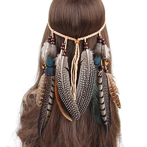 Ymwave Donne Indiana Copricapo Boemia etnico Fascia capelli Fascia Piuma di stile di hippy accessori per capelli per feste e festival carnevale