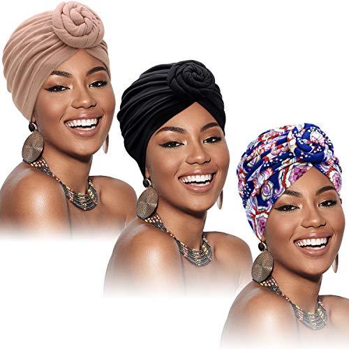SATINIOR 3 Pezzi Turbante Africano per Donne Cofano Pre-Annodato a Nodo Cuffia per Cappellino (Nero, Fiore Blu, Cachi)