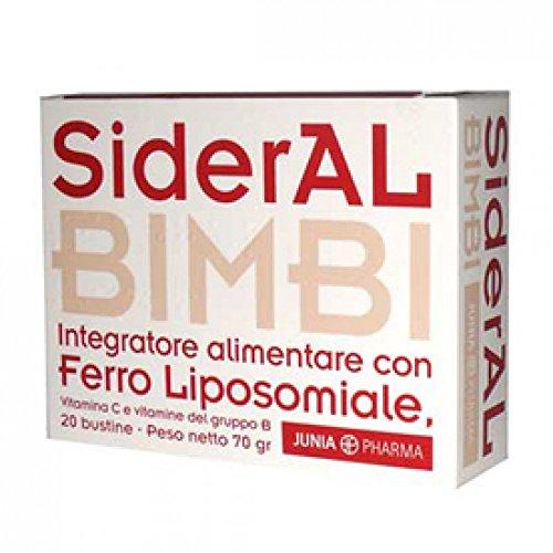 Junia Pharma Integratore Di Ferro Sideral Bimbi, Vitamina C E Vitamine Del Gruppo B, 20 Bustine, Standard, 70 Grammo