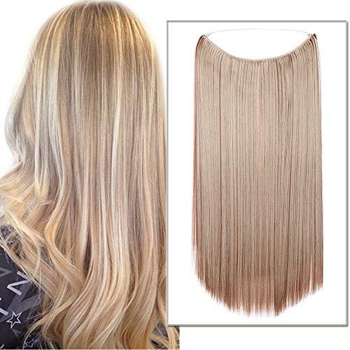 Silk-co Extension con Filo Trasparente Fascia Unica Extension per Capelli Lisci One piece Wire in Hair Extension Filo Invisibile 50cm-Marrone Chiaro Mix Biondo