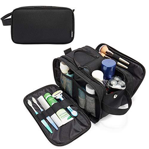 WANDF Beauty case da viaggio per uomo, grande borsa per il lavaggio da uomo, con borsa per cosmetici e sacchetto asciutto, nero, L,