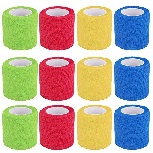 Benda Coesiva, 12 Rotoli Fasciatura Adesiva Elastica, Colorato Elastica Tessuto Medico per Mano, Dita dei Piedi, Patch per le Dita, Fasciatura delle Ferite