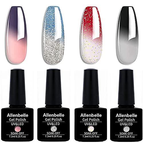 Allenbelle Smalto Semipermanente Camaleonte Nail Polish UV LED Gel Unghie (Kit di 4 pcs 7.3ML/pc) 009