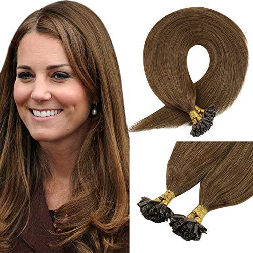 Sunny #6 Extension Marrone Capelli con Cheratina 14 Pollice/35cm Pre Bonded U Tip Hair Extension Cheratina Capelli Veri 1g/Ciocca 50 Grammo
