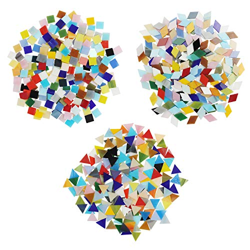 Belle Vous Tessere Mosaico Vetro Colorato 3 Forme (600pz-480g) - Diamanti (2 x 1,2 cm), Triangoli (1,5 x 1,5 x 1,5 cm) e Quadrati (1x1 cm) - Tessere per Mosaico Piastrelle per Arte, Casa e Decorazioni