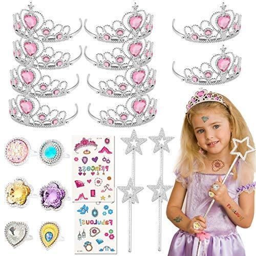 Tacobear 50 Pezzi Vestito Principessa Accessori Bambina con Tiara Principessa Corona Diadema Anello Adesivi Bacchetta Magica Set Costume Principessa Gioielli Regali Festa Compleanno per Bambina (Rosa)