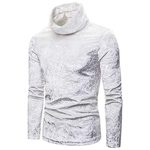 Men's Standing Collar Slim Sweatshirt,Solid Autumn Style Golden Velvet High-Collar Long Sleeve Top