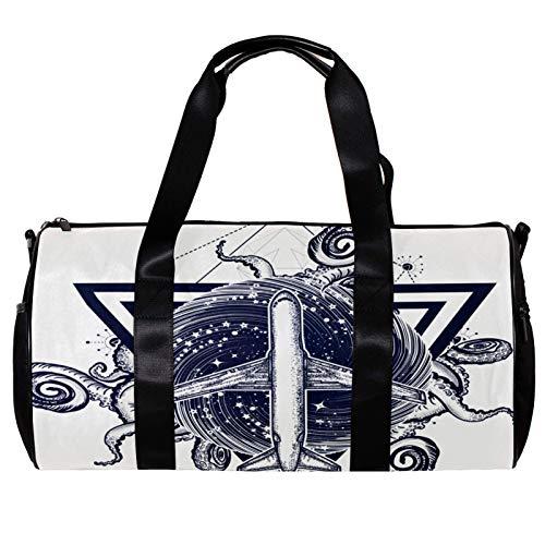 Rotondo Palestra Sport Duffel Bag Con Tracolla Staccabile Bermuda triangolo tatuaggio Formazione Borsa per la notte per le donne e gli uomini