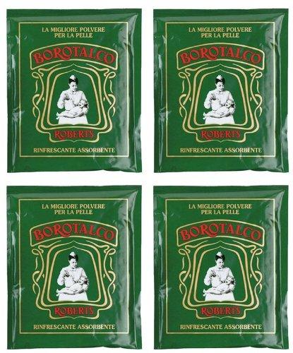 Roberts - Borotalco®, talco in polvere, pacco da 4 buste, buste da 100 g