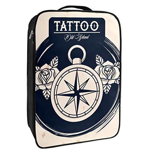Scatola portaoggetti per scarpe da viaggio e uso quotidiano Bussola guida tatuaggio borsa organizer portatile impermeabile fino a 12 metri con doppia cerniera e 4 tasche