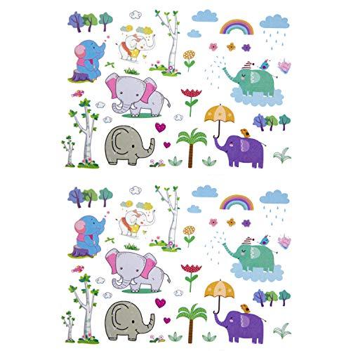 Oblique Unique® Tatuaggi per Bambini a Forma di Elefante, 70 Pezzi, Colori Vivaci, Tempi, Animali, Elefanti, Alberi, Cuori, Fiori, UVM. per Giocare al Compleanno dei Bambini