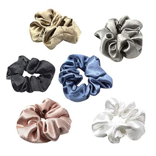 Lurrose - Elastici per capelli in raso, 6 pezzi, in tessuto classico, per coda di cavallo, da donna
