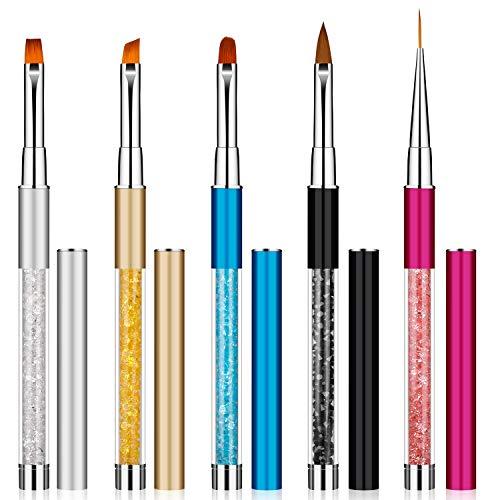 Pennelli Unghie Gel Professionali Nail Art Pennelli con Manico Strass Strumenti per Nail Pittura Disegno del Chiodo fai da 5 Pezzi