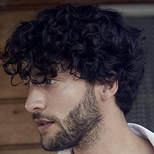 Parrucca corta per uomo Parrucca riccia a strati neri Parrucche sintetiche per capelli per costumi di Halloween con cappuccio per parrucca