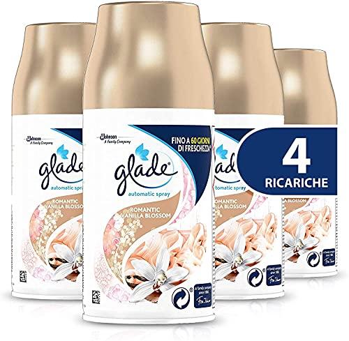 Glade Automatic Ricarica, Profumatore per Ambienti Spray Fragranza Romantic Vanilla Blossom, Formato Scorta, 4 x 269 ml