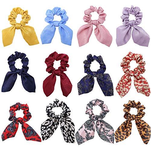 XUBX 12 Pezzi Elastici Capelli Donna, Elastico Scrunchies per Capelli, Cravatte Sciarpa con Motivo a Fiori per coda di Cavallo, elastici per capelli, accessori vintage per capelli, Cerchietti
