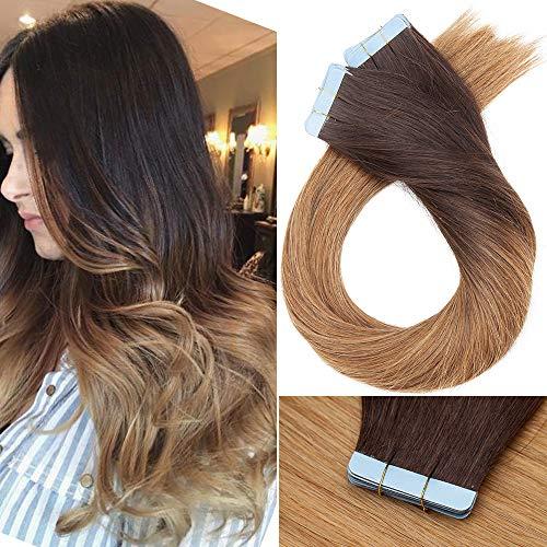 Extenson Capelli Veri Biadesivo Balayage Tape in Extension Adesive Remy Human Hair 100g 40 Fasce Lisci Naturali Umani Lunghi (40cm 4T27 Marrone Cioccolato Ombre Biondo Scuro)