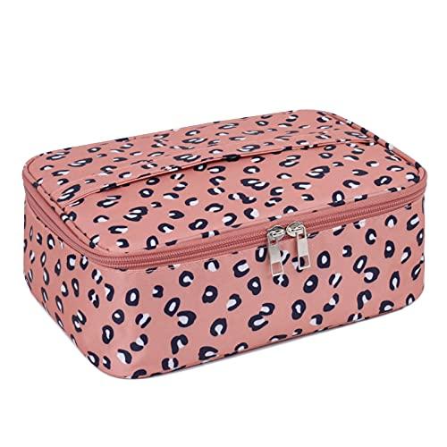 Beauty case da viaggio, grande, organizer per trucchi, per donne e ragazze (motivo: leopardato)