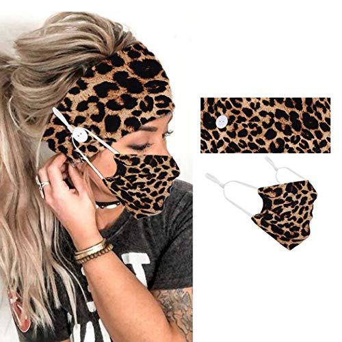 Zoestar Boho Leopard fasce per capelli con bottoni per testa di yoga, sciarpe a turbante largo, per donne e ragazze