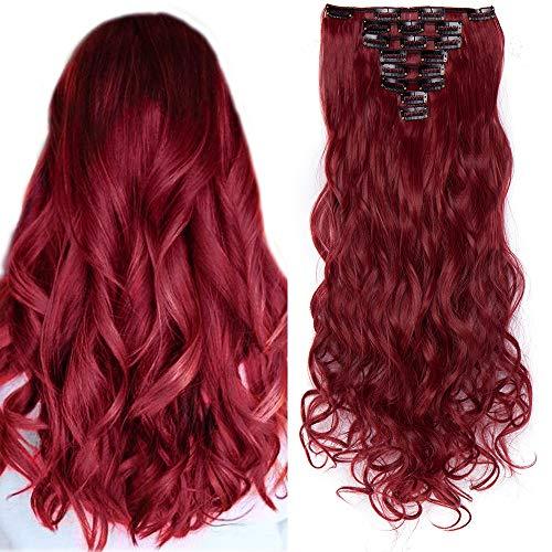 24 Inch Clip in Hair Extension Capelli Mossi Rossi 60cm 8 Fasce Sintetiche con 18 Clip 140g Full Head - Marrone mix Rosso Scuro