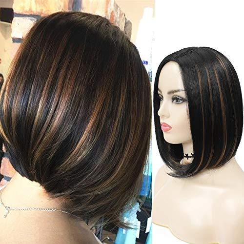Parrucca caschetto donna parrucca donna capelli corta parrucca nera liscia parrucca nera e bionda parrucca sexy nera halloween carnevale hair wigs
