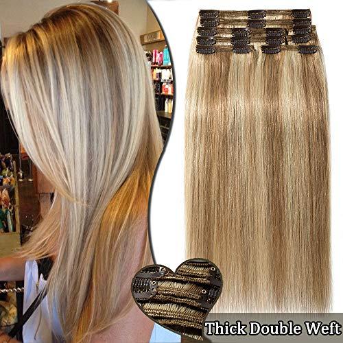 Elailite Extension Capelli Veri Clip Balayage #12/613 Marrone Chiaro mix Biondo Chiarissimo - 8 Ciocche Remy Human Hair Double Weft Extensions Voluminose Naturali - 35cm 120g