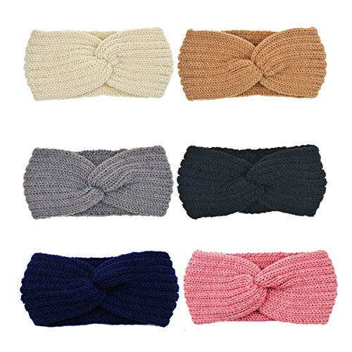 DRESHOW 6 Pack Crochet Turbante fascia per le donne Warm ingombranti all'uncinetto Headwrap