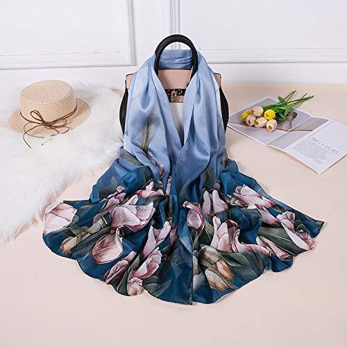 Sciarpe sciarpa Sciarpa lunga in raso misto seta Sciarpa regalo per la mamma Confezione regalo Sciarpa scialle protezione solare-5#_Seta mista 185 * 85 cm